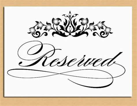 templates for reservation table wedding cards beautiful reserved signs for tables 5 free printable