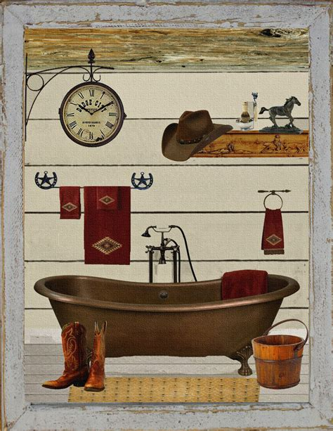cowgirl home decor primitive southwest western bathroom bath bathtub cowboy