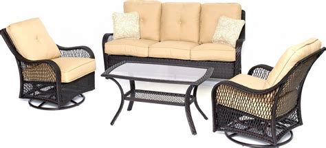 outdoor swivel glider chair hanover orleans 4 outdoor conversation set with