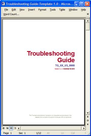 troubleshooting guide use this ms word template to help