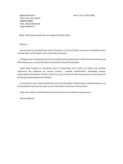 Lettre De Motivation Vendeuse Restauration Lettre De Motivation Restauration Employment Application