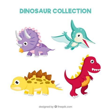 imagenes vectores sin derechos set de dinosaurios beb 233 s simp 225 ticos y divertidos