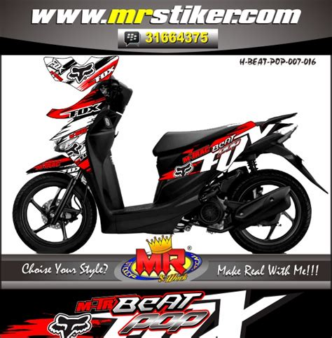 Cover Motor Beat Pop Warna Hitam Size L beat pop fox m trac stiker motor striping motor suka suka decal motor mr stiker