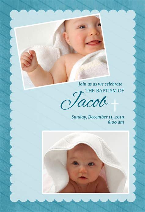 Stamped Frame Blue   Baptism & Christening Invitation