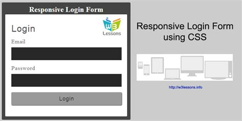 design html form using css responsive login form with css w3lessons programming blog