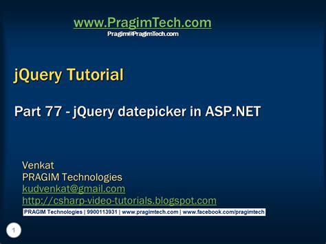 tutorial jquery datepicker sql server net and c video tutorial jquery datepicker