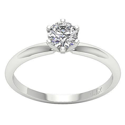 solitaire engagement ring band vintage prong set 0 55 ct 14kt white gold 163 426 89