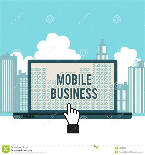 business mobile mobile business city laptop concept stock vector