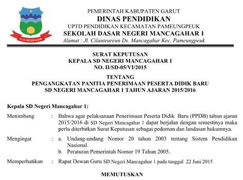 contoh surat keputusan sk kepala sekolah lengkap