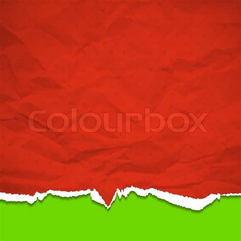 red torn paper on a green background vector background