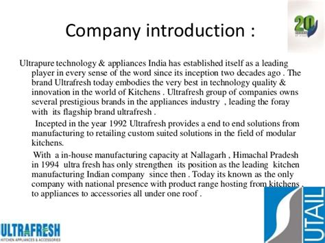 Ultrafresh Corporate Presentation Company Introduction Presentation