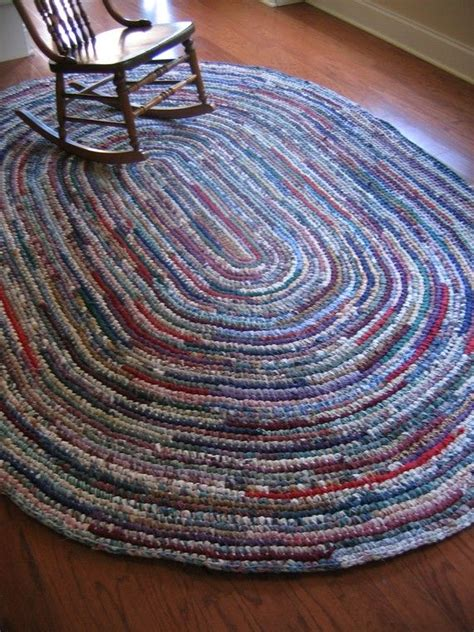 crochet oval rug rag rug eight foot oval crocheted
