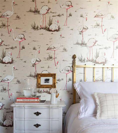 Bedroom Wallpaper Birds Tienda Telas Papel Papel Pintado Retro Flamencos