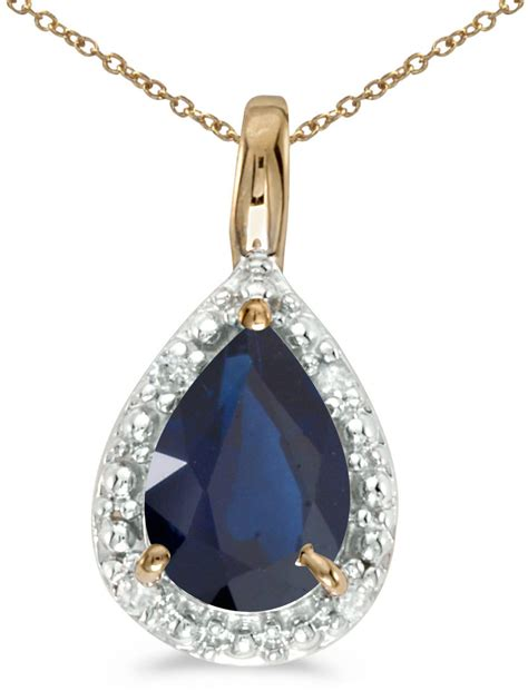 14k yellow gold pear sapphire pendant chain not included