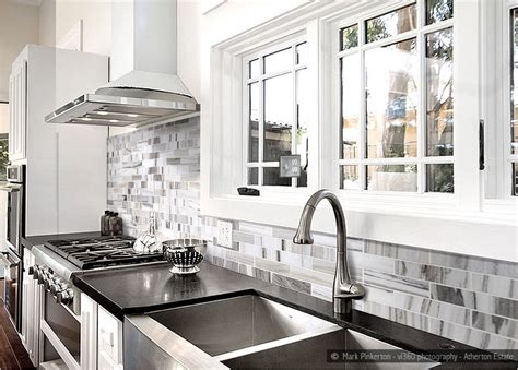 Black And White Kitchen Backsplash by White Gray Subway Marble Backsplash Tile