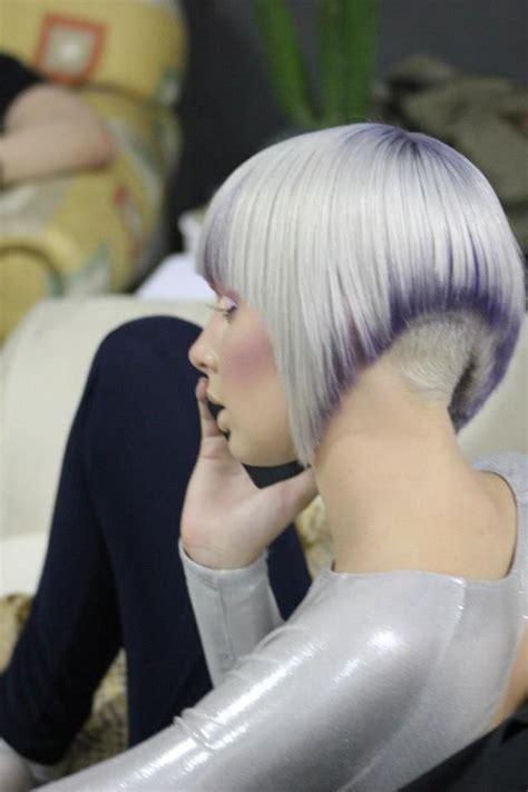 severe bob hairstyle white grey gradient severe bob undercut muah