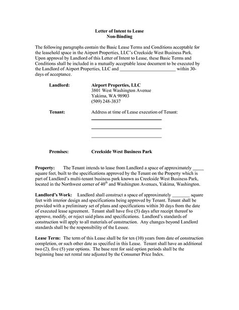 lease for commercial property template letter of intent to lease commercial property template