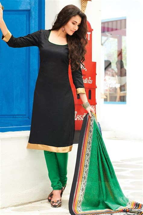 banarasi silk plain black unstitched churidar suit