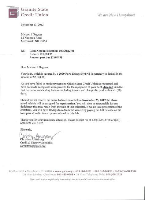 vehicle repossession letter template car repossession letter