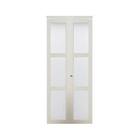 Closet Doors Frosted Glass Truporte 30 In X 80 50 In 3080 Series 3 Lite Tempered Frosted Glass Composite White Interior