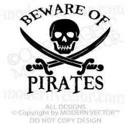 Personalised Bedroom Wall Stickers pirate theme beware of pirates quote vinyl wall decal