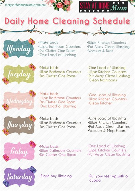 weekly cleaning calendar printable always cleaning print our free daily home cleaning