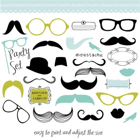lips digital clipart printable diy photo booth mustache spectacles and lips kiss digital clipart set