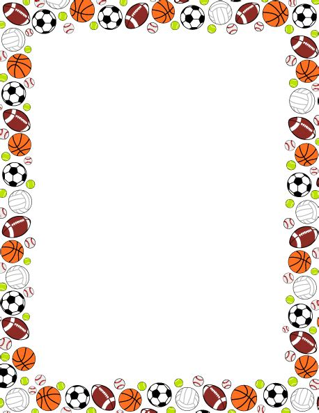 Printable Sports Ball Border Use The Border In Microsoft Word Or Other Programs For Creating Themed Word Template
