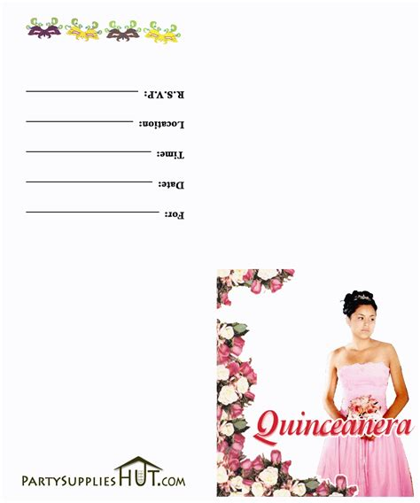 printable quinceanera card free printable quinceanera invitation templates