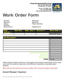 work order form template pdf free sle work order form 9 exles in word pdf