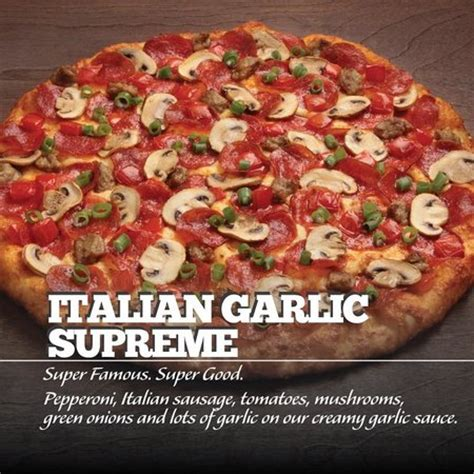 italian garlic supreme picture of table pizza