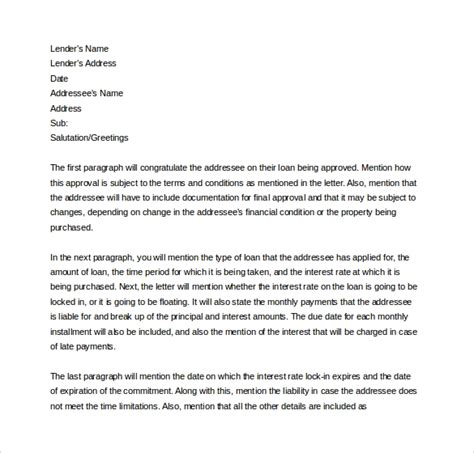 letter of commitment template 7 mortgage commitment letter templates to