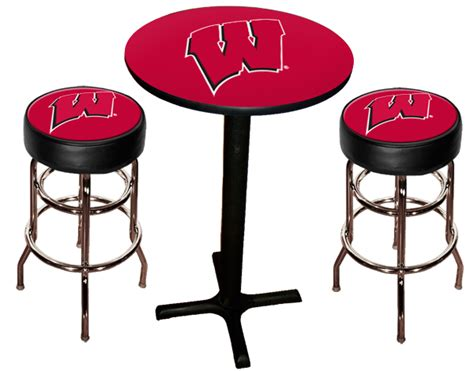 Wisconsin Badger Bar Stools by Wisconsin Badgers Pub Table With Two Stools Stargate Cinema