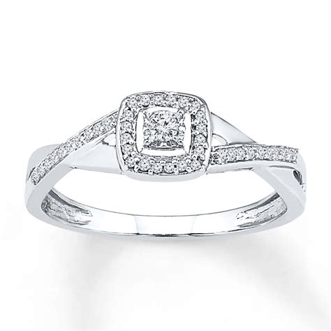 promise ring 1 10 ct tw cut 10k white gold