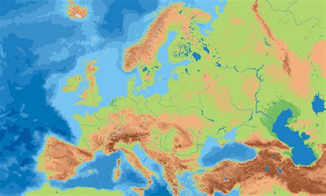 physical map europe europe physical map size