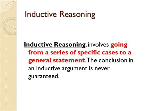 define specific induction deductive and inductive reasoning ppt