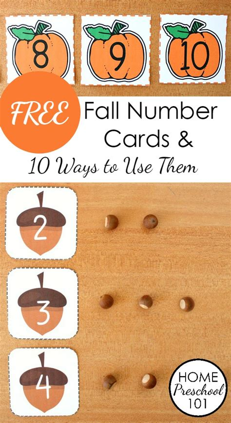 printable pumpkin number cards free printable fall number cards home preschool 101