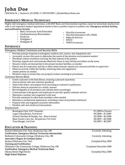 Emergency Description by Emt Paramedic Resume Sle Http Resumesdesign Emt Paramedic Resume Sle Free
