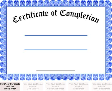 free printable certificate of completion template printable free certificate of completion