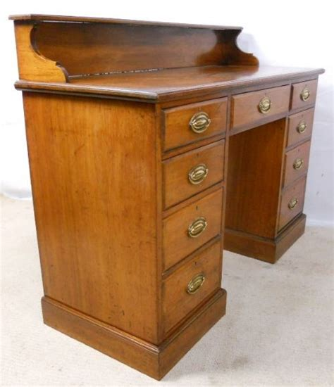 edwardian narrow mahogany pedestal kneehole writing desk