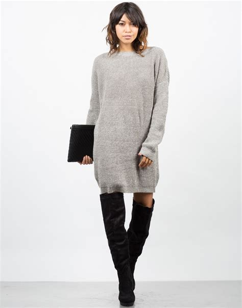 sweater knit dress oversized mixed knit sweater dress sweater dress brown
