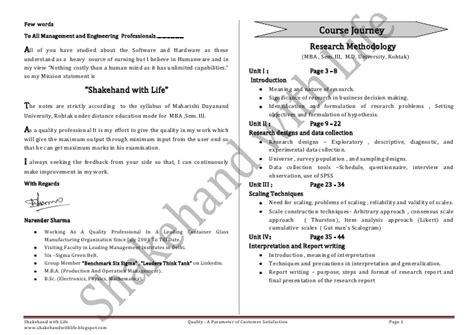 Business Research Methods Notes Mba by Mba Notes Research Methodology