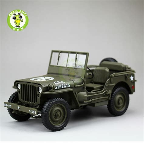 New Item Diecast Miniatur Mobil Jeep Willys Army Diecast Pajangan 1 18 1 4 ton us army willys jeep top diecast car model toys welly army green in diecasts