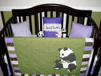 panda crib bedding green and purple baby panda bedding quilts pinterest