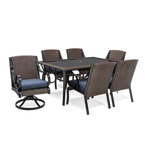 la z boy outdoor kinsley 7 pc dining set denim outdoor