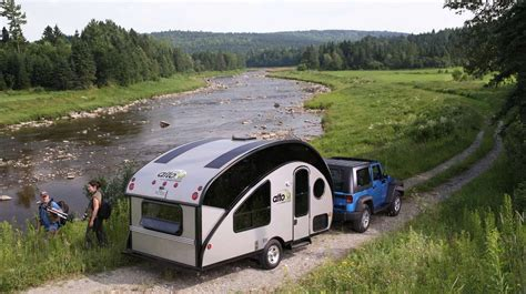 pulling boat behind cer compact teardrop trailer transforms into a large family cer