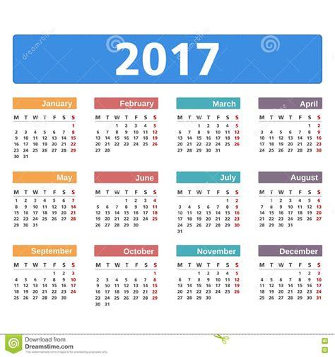 Calendario 2017 A Calend 225 2017 Ilustra 231 227 O Do Vetor Imagem 72174712