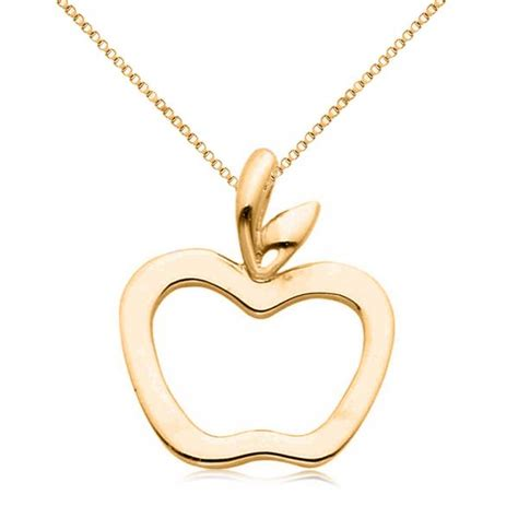 Apple Pendant Necklace hollow apple pendant necklace in plain metal 14k yellow