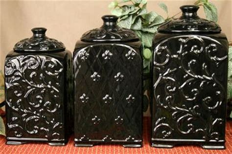 drake kitchen canisters tuscan drake design black scroll fleur de lis ceramic