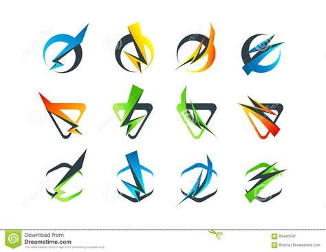 corporate business logo flash symbol icon and thunderbolt